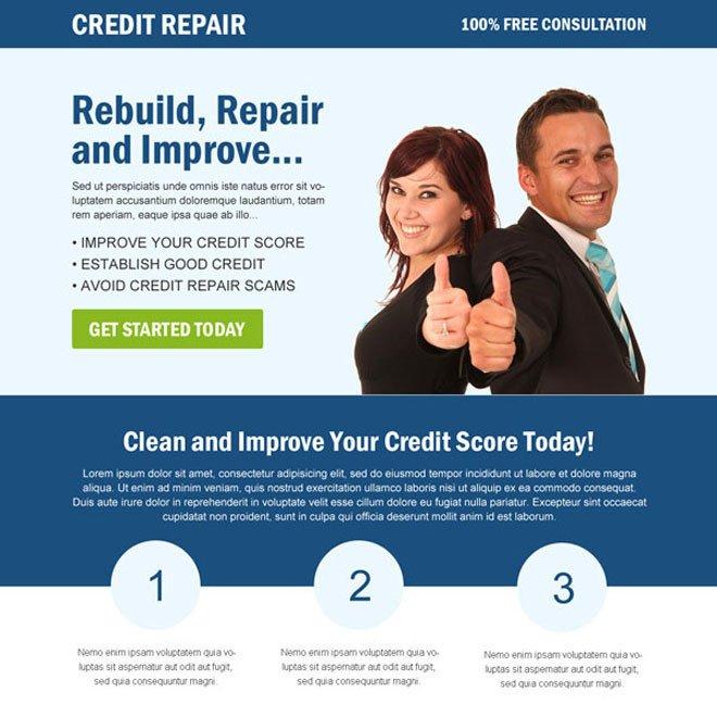 Credit Repair Flyer Template Best Credit Repair Service Landing Page Design Templates