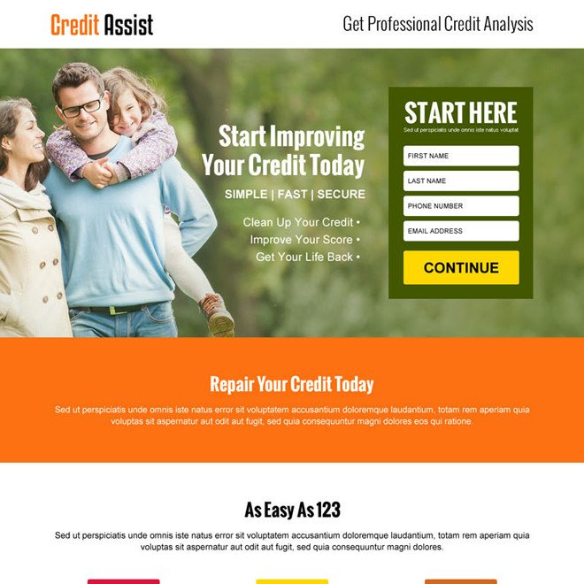 Credit Repair Flyer Template Credit Repair Landing Page Design Template to Boost Your