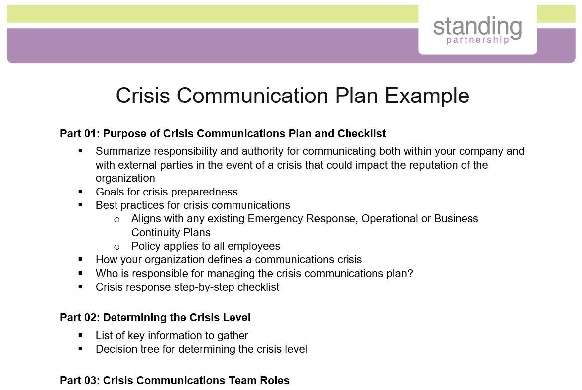 Crisis Communication Plan Templates Crisis Munication Plan Example Standing Partnership