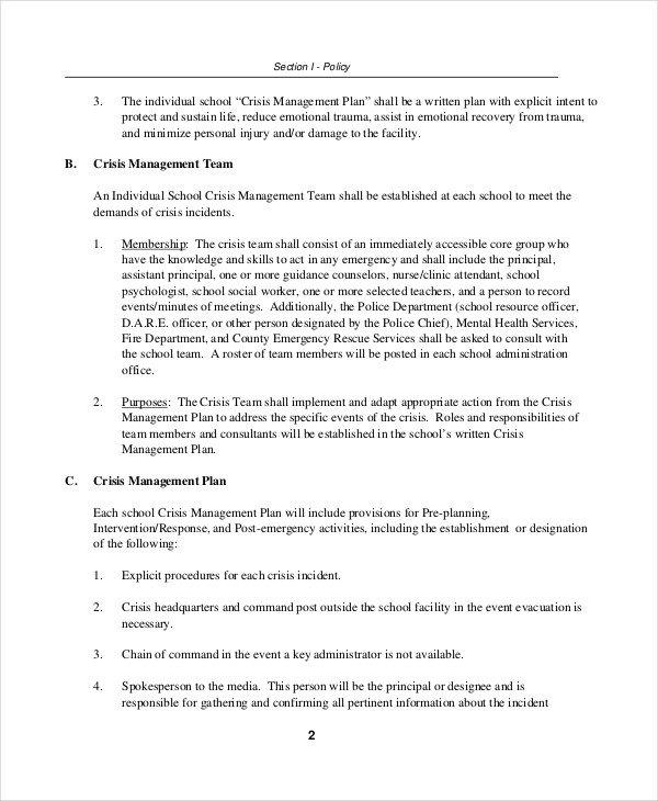 Crisis Communication Plan Templates Crisis Plan Template 10 Word Pdf Google Docs Apple