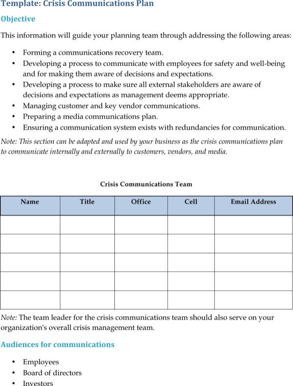 Crisis Communication Plan Templates Download Crisis Munication Plan Templates for Free