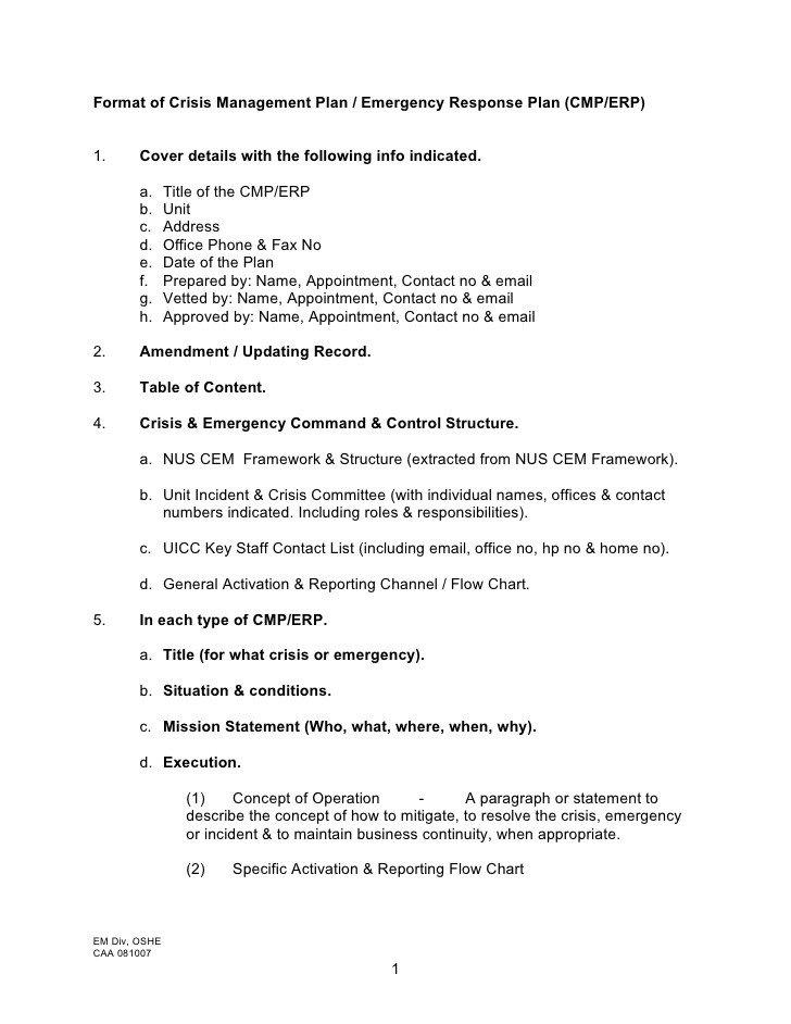 Crisis Communication Plan Templates format Of Crisis Management Plan Emergency Response Plan