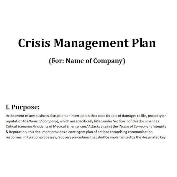 Crisis Communication Plan Templates Free Downloadable Template A Plan for Crisis Management