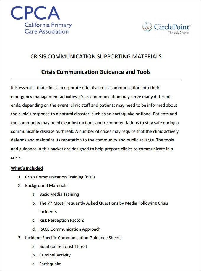Crisis Communication Plan Templates Mental Health Safety Plan Template