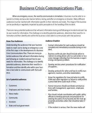 Crisis Communication Plan Templates Munication Plan Example 17 Samples In Word Pdf