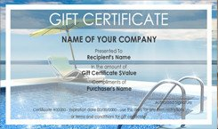 Cruise Gift Certificate Template Pool and Spa Cleaning Gift Certificate Templates