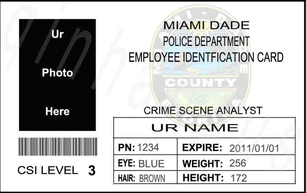 Csi Badge Template Ems to Usa Custom Personalized Ur Pic Us Csi Miami Dade