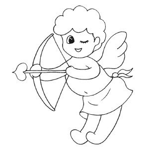 Cupid Template Printable Cupid Winking Coloring Page