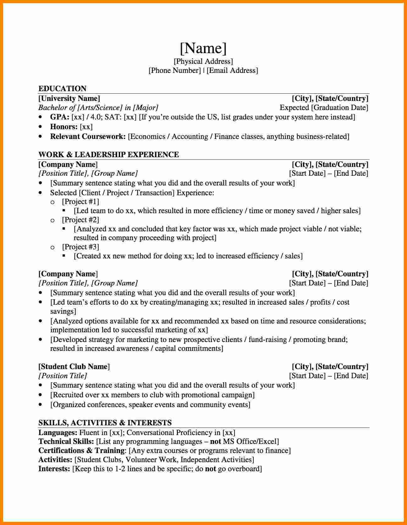 Curriculum Vitae Template Student 10 Cv Sample Graduate School