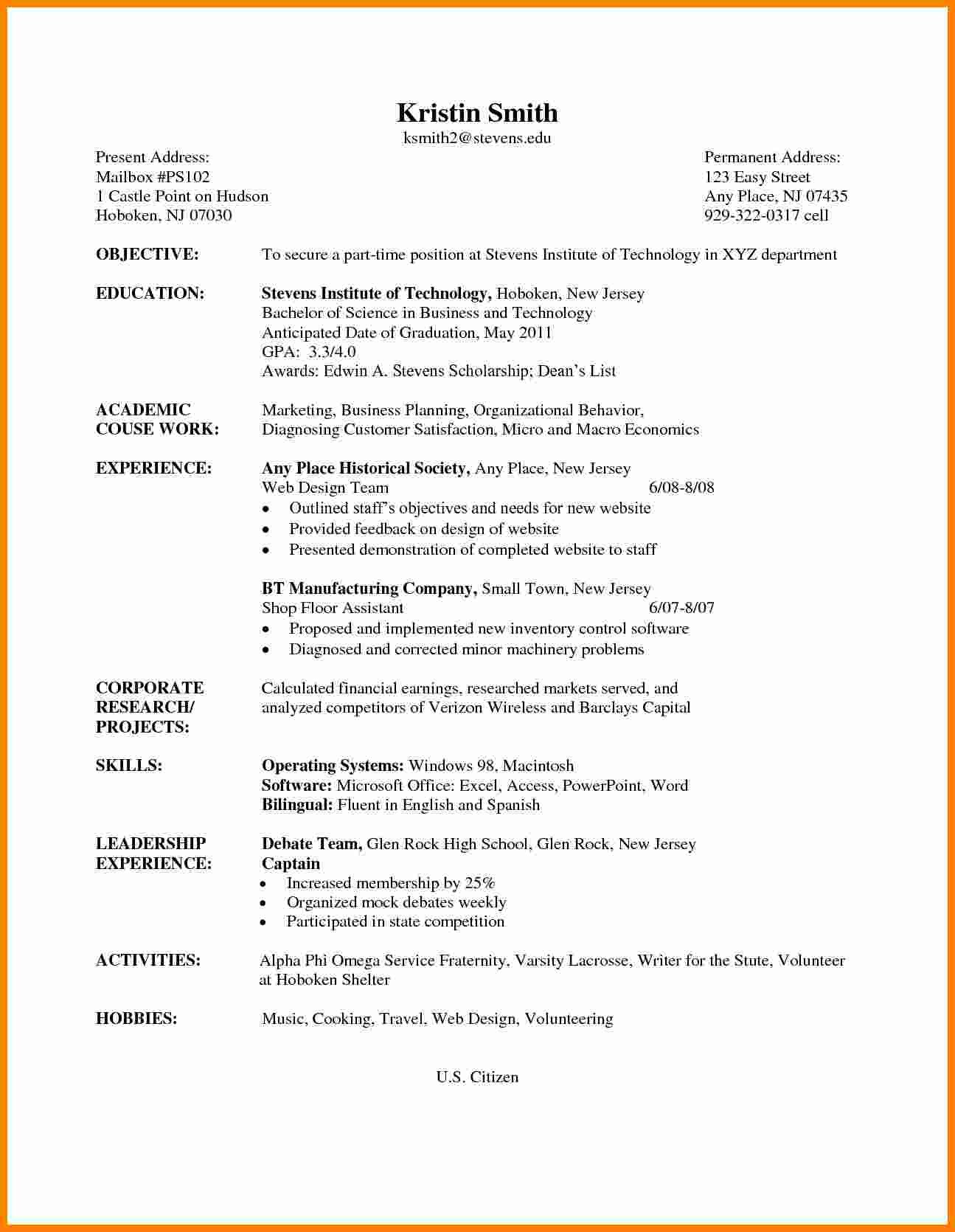 Curriculum Vitae Template Student 5 Cv Samples for Undergraduate Students