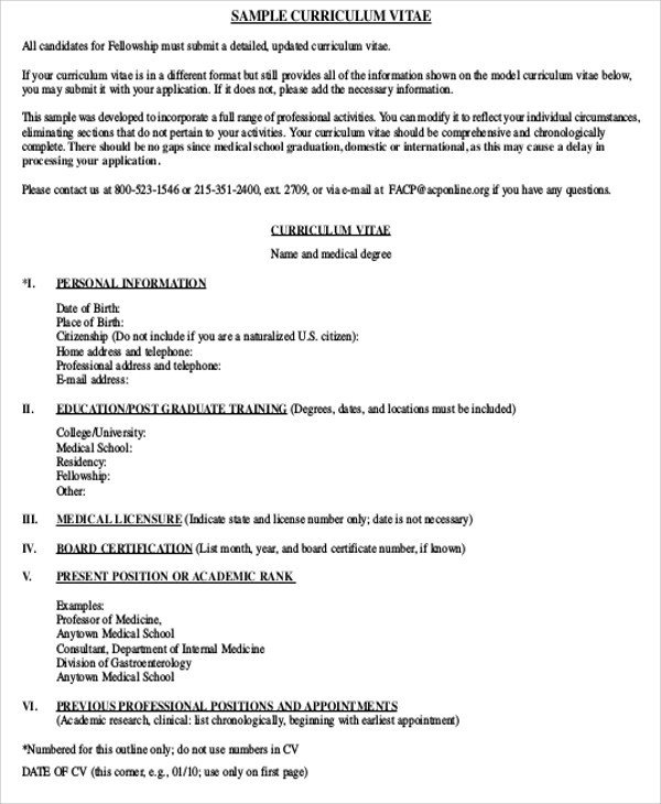 Curriculum Vitae Template Student Medical Student Cv Sample 7 Examples In Word Pdf