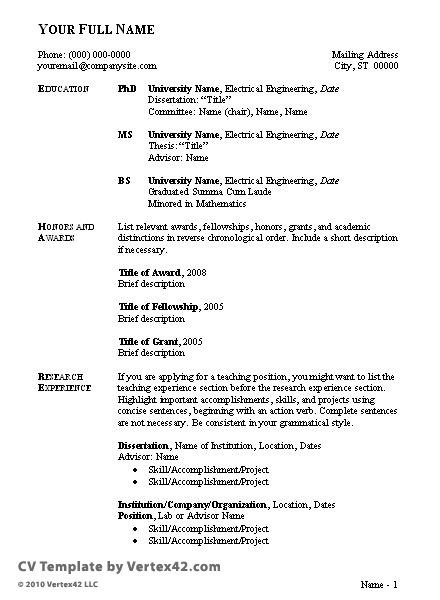 Curriculum Vitae Template Student Sample Curriculum Vitae format for Students