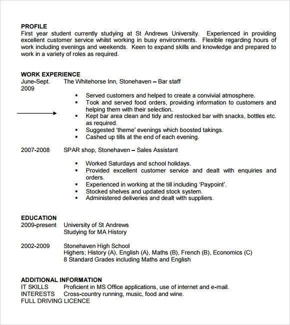 Curriculum Vitae Template Student Sample Student Cv Template 9 Download Free Documents In