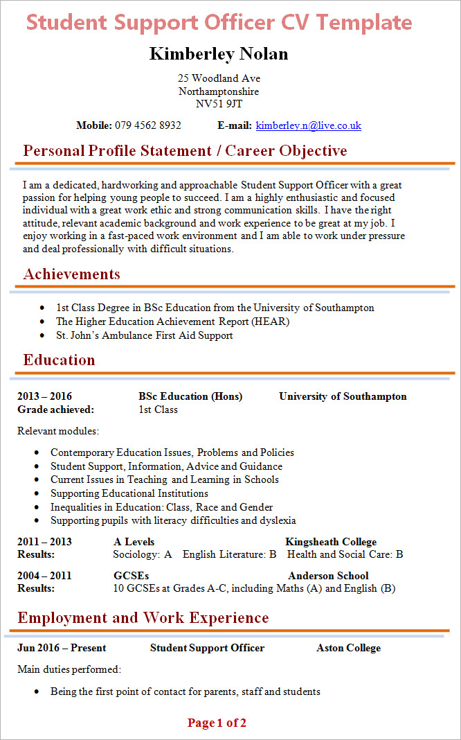 Curriculum Vitae Template Student Student Support Officer Cv Template 1