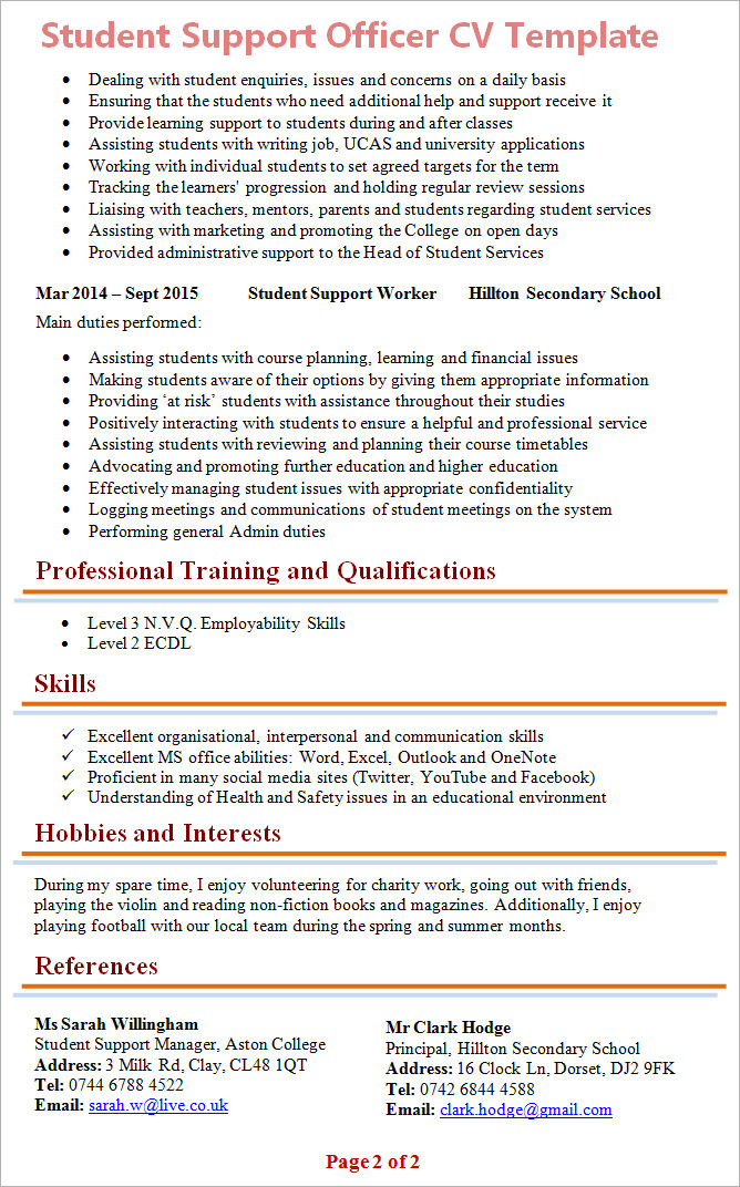 Curriculum Vitae Template Student Student Support Officer Cv Template 2