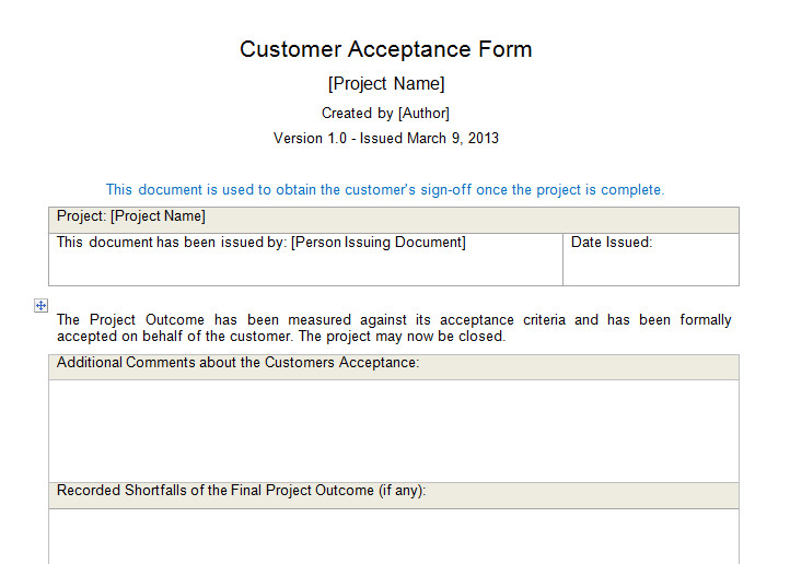 Customer Acceptance form Template Customer Acceptance form Download for Project Management