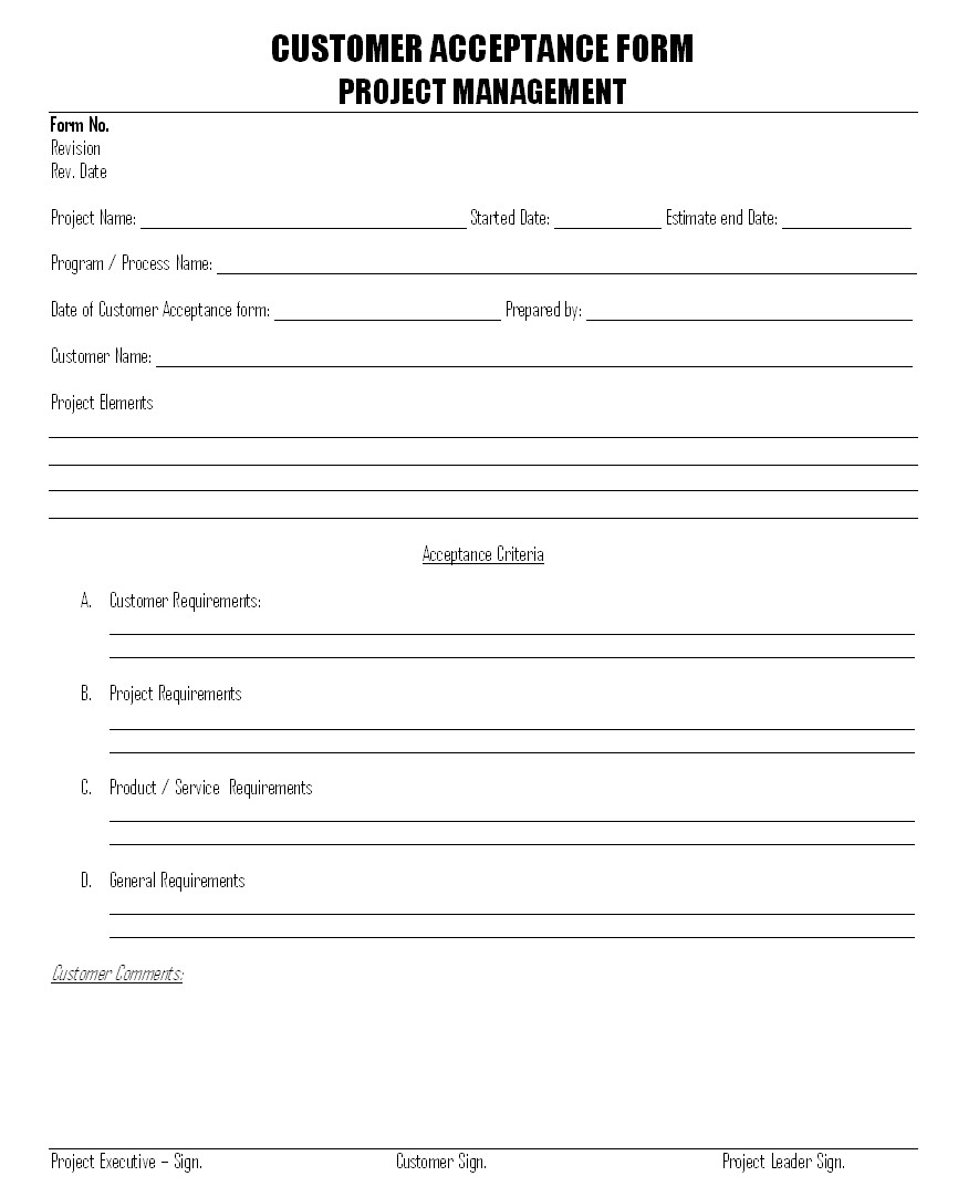 Customer Acceptance form Template Customer Acceptance form format