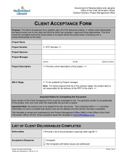 Customer Acceptance form Template Discovery Template Information Technology Services