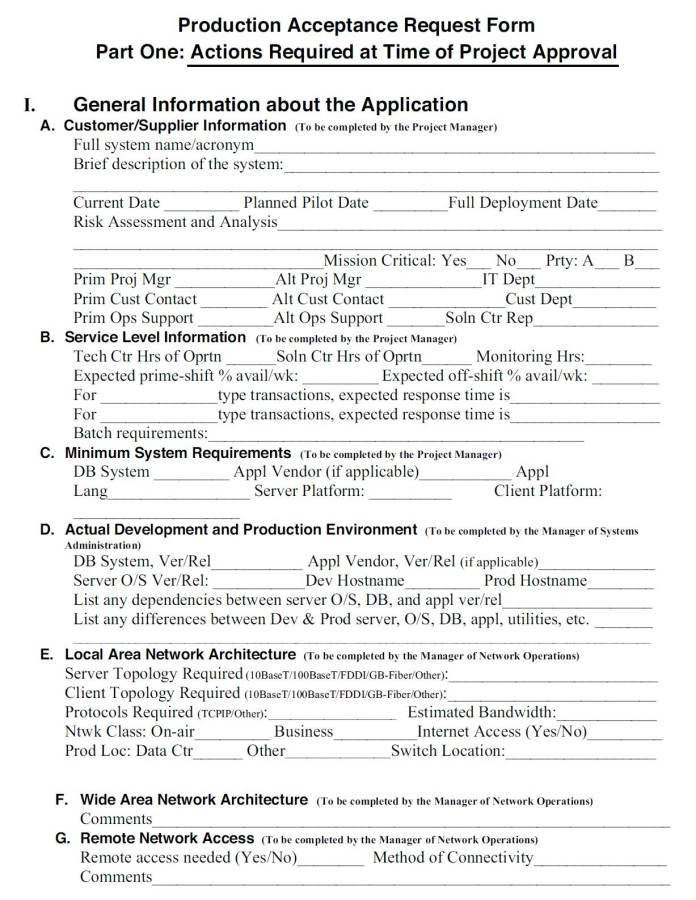 Customer Acceptance form Template It Systems Management Production Acceptance Application