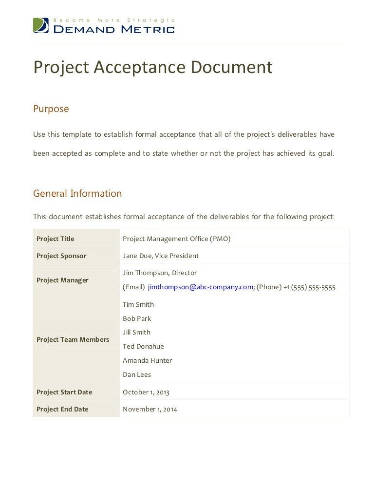 Customer Acceptance form Template Project Acceptance Document