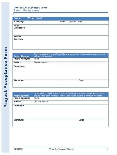 Customer Acceptance form Template Project Acceptance form for Managing Your Project