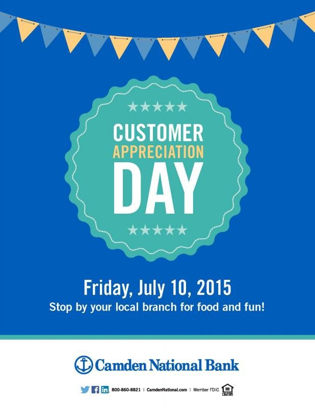 Customer Appreciation Flyer Template Customer Appreciation Day at Camden National Bank