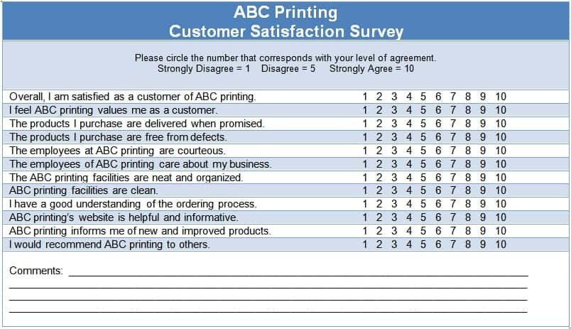 Customer Satisfaction Survey Template Word 6 Sample Survey Templates Excel Pdf formats