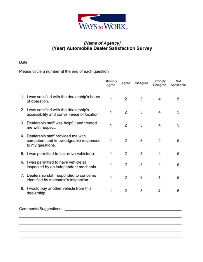 Customer Satisfaction Survey Template Word Customer Satisfaction Survey Template In Word and Pdf formats