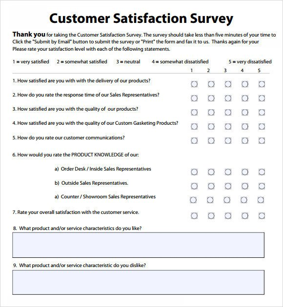 Customer Satisfaction Survey Template Word Customer Satisfaction Survey Template Word