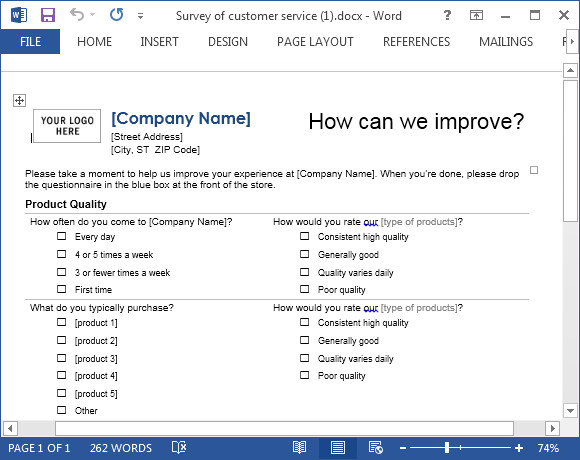 Customer Satisfaction Survey Template Word Customer Service Template for Word