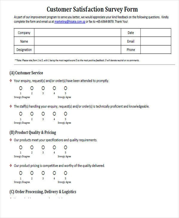 Customer Satisfaction Survey Template Word Printable Survey form 55 Examples In Pdf Word