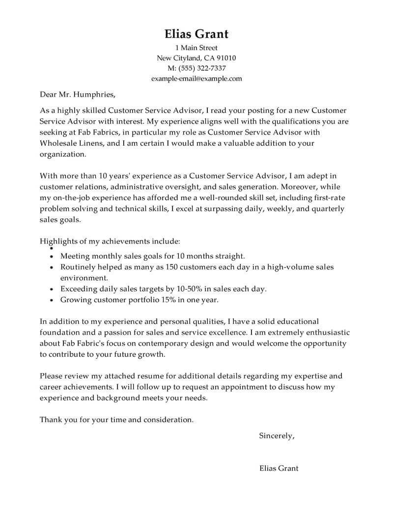 Customer Service Cover Letters Best Sales Customer Service Advisor Cover Letter Examples