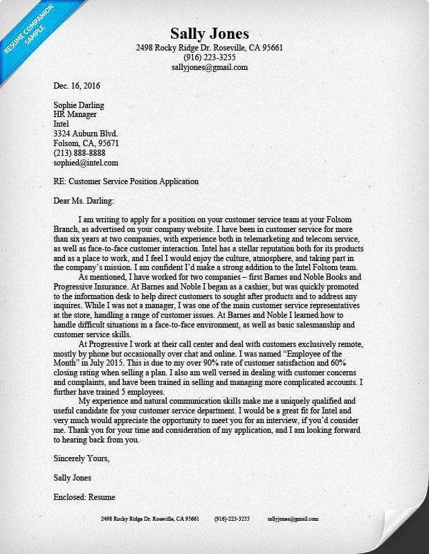 Customer Service Cover Letters Customer Service Cover Letter Sample