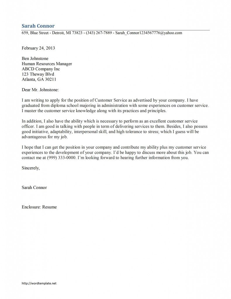 Customer Service Cover Letters Customer Service Cover Letter Template