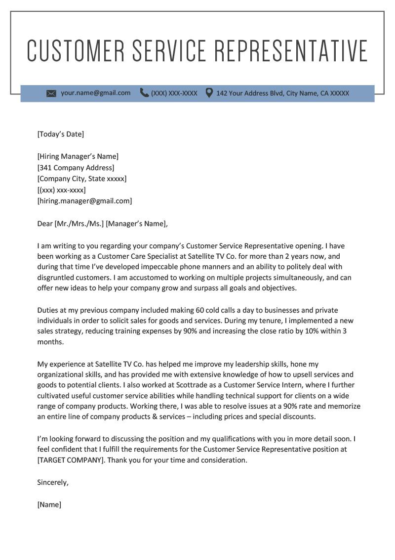Customer Service Cover Letters Customer Service Representative Cover Letter Sample