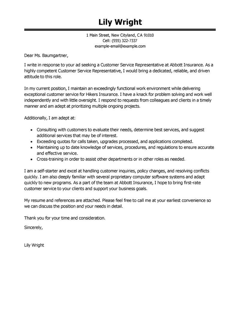 Customer Service Cover Letters Leading Professional Customer Service Representative Cover