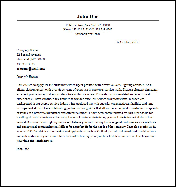 Customer Service Cover Letters Professional Customer Service Agent Cover Letter Sample