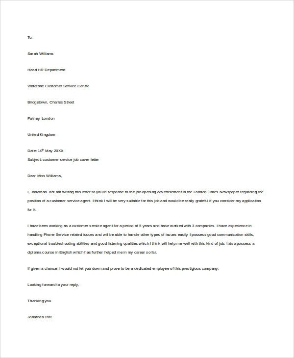 Customer Service Cover Letters Sample Customer Service Cover Letter 8 Examples In Word