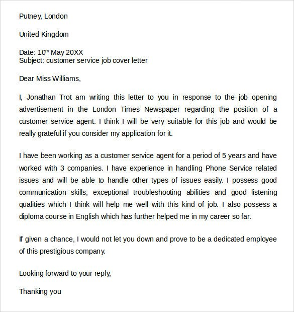 Customer Service Cover Letters Sample Customer Service Cover Letter Example 7 Download