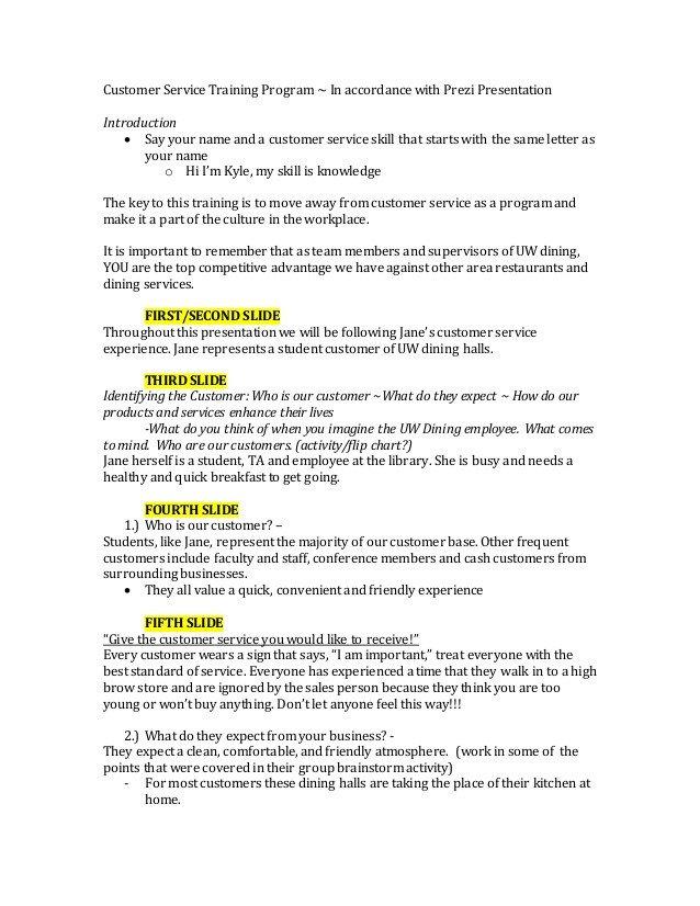 Customer Service Scripts Templates Customer Service Training Script