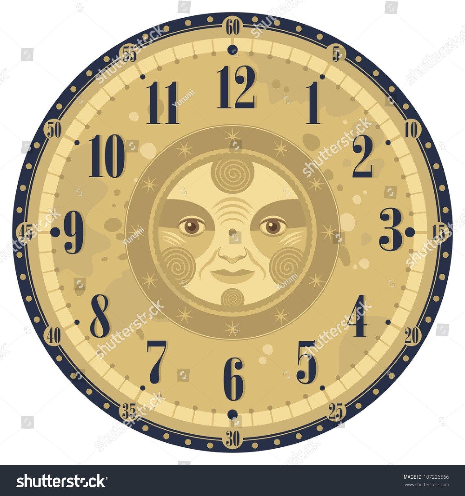 Customizable Clock Face Template Vintage Clock Face Template with Decorative Sun Stock