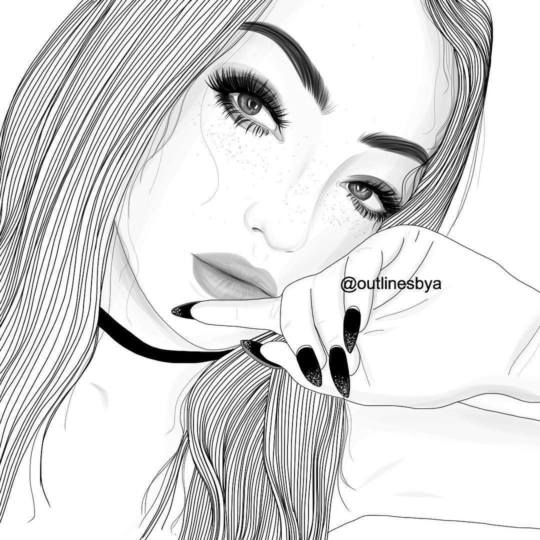 Cute Drawings Of Girls Cute Girl Outline Girls Black & White