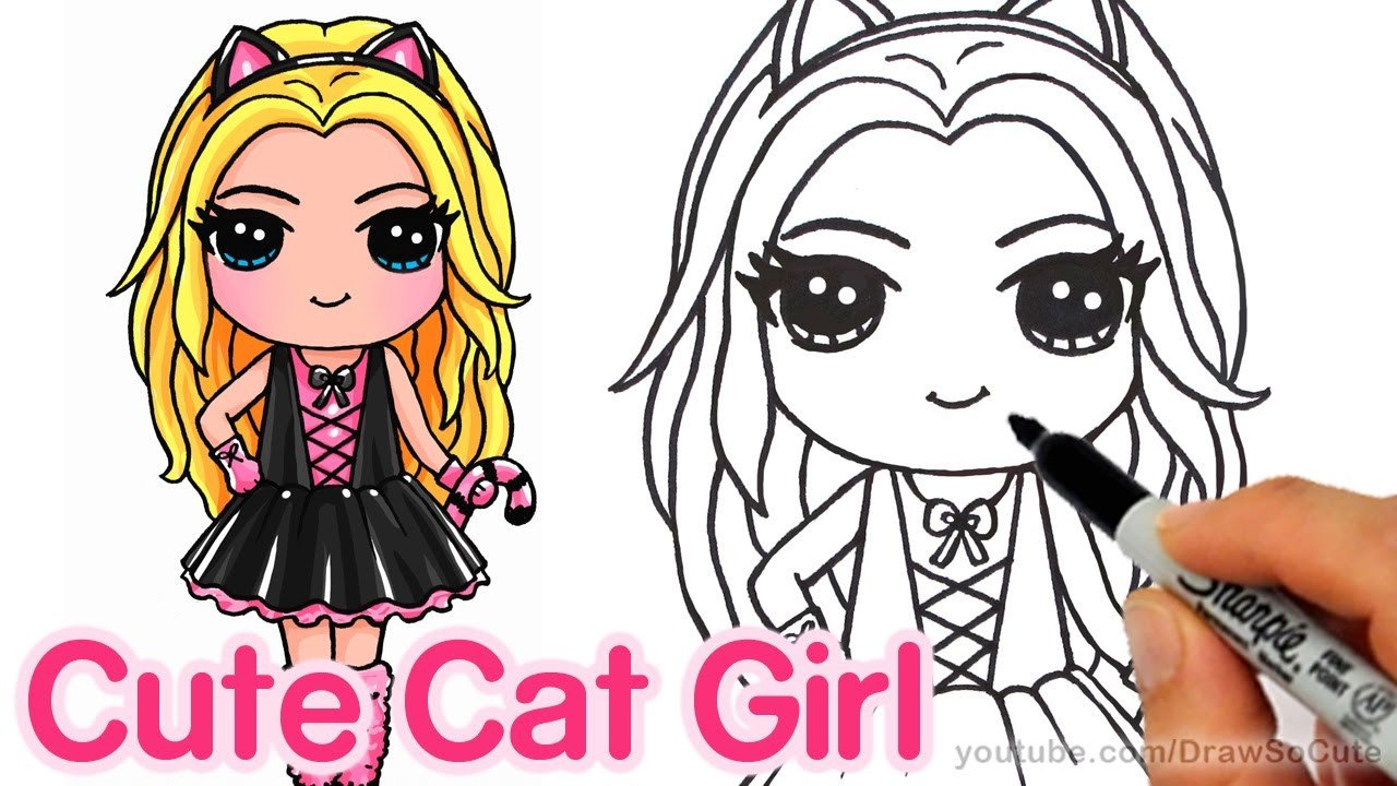 Cute Drawings Of Girls How to Draw A Cute Girl In Cat Costume Step by Step