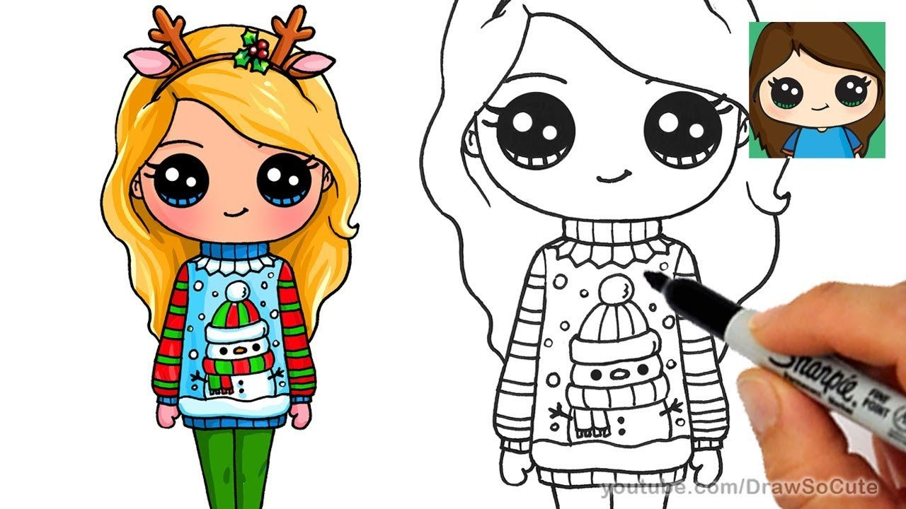 Cute Drawings Of Girls How to Draw A Cute Girl In Christmas Ugly Sweater