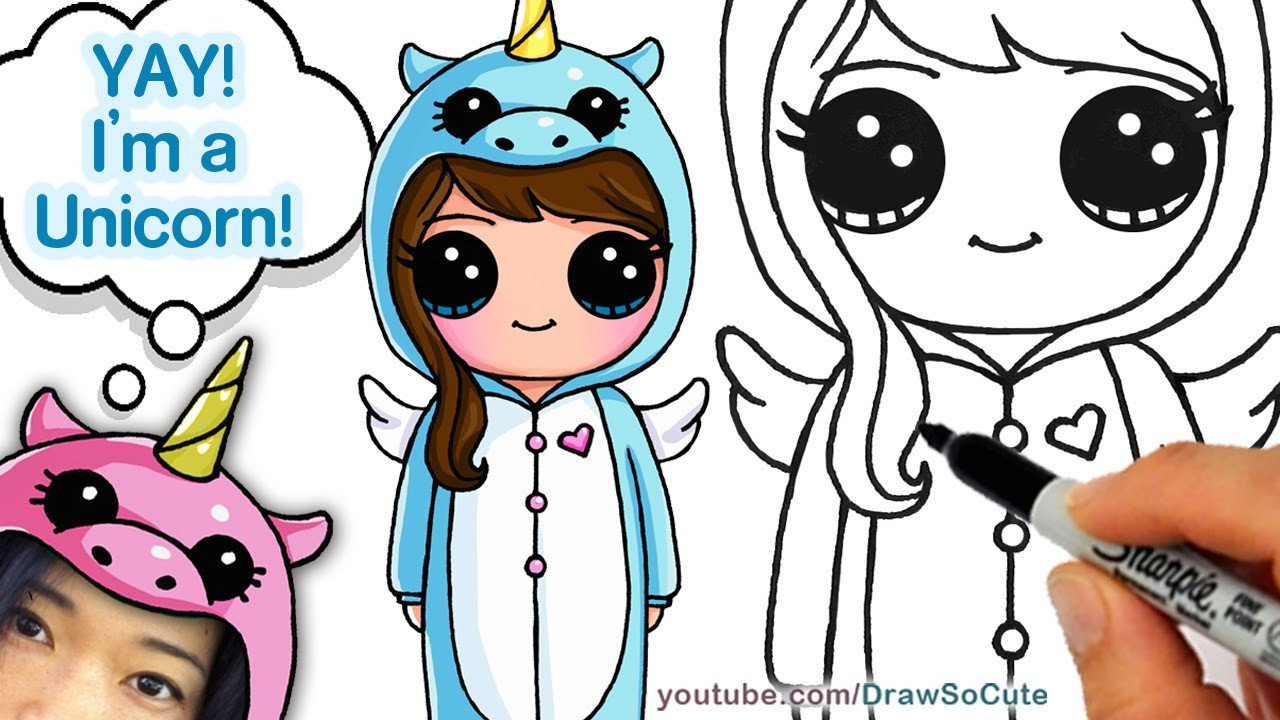 Cute Drawings Of Girls How to Draw Cute Girl In Unicorn Esie Easy
