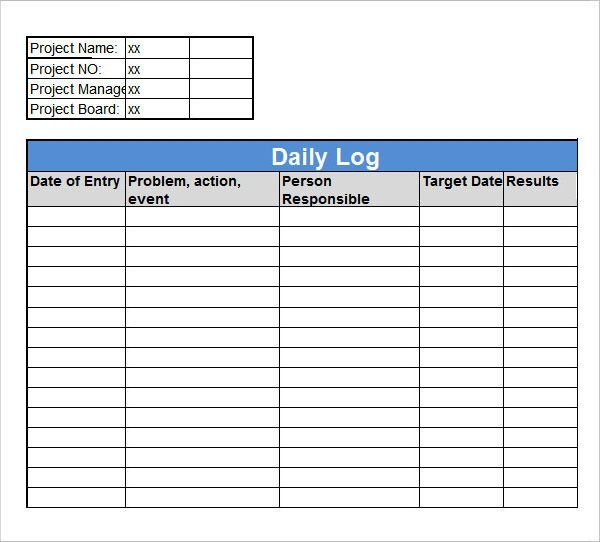 Daily Activity Log Template 16 Sample Daily Log Templates Pdf Doc
