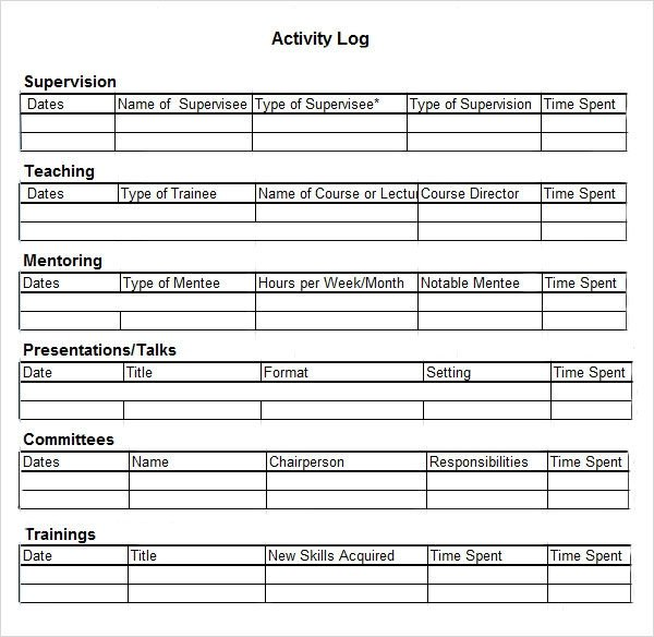 Daily Activity Log Template Activity Log Template – 12 Free Word Excel Pdf