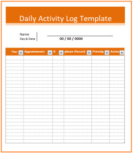Daily Activity Log Template Activity Log Templates 2 Ms Word & Excel