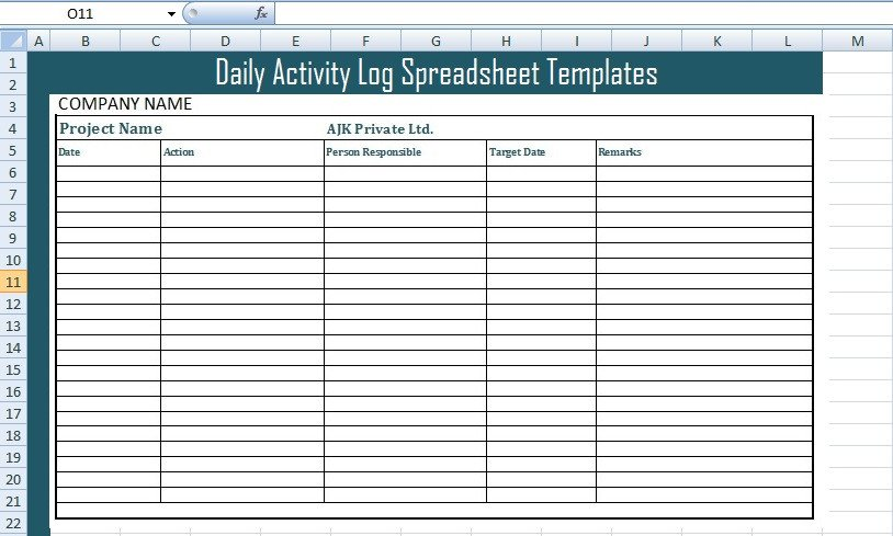 Daily Activity Log Template Get Daily Activity Log Spreadsheet Templates Free Excel