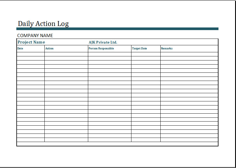 Daily Activity Log Template Ms Excel Daily Action Log Template